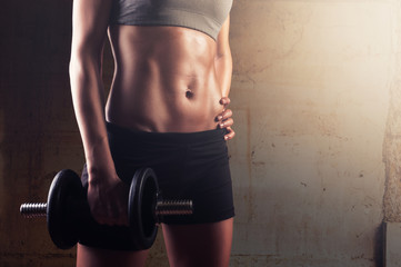 Fitness woman preparing for workout session