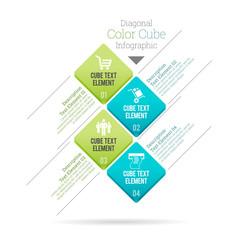 Diagonal Color Cube Infographic