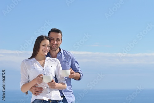 happy young romantic couple have fun relax
