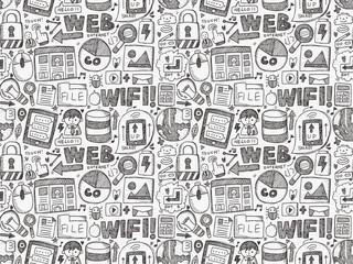 doodle internet seamless pattern