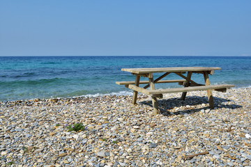 Picnic table on a beach