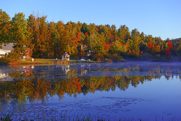 Autumn colors: leaves reflecting in lake