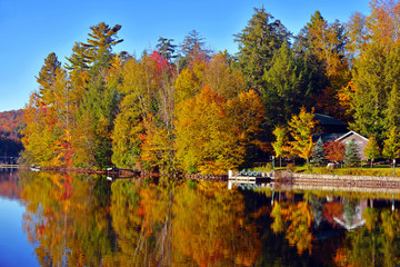 Autumn colors reflecting in lake