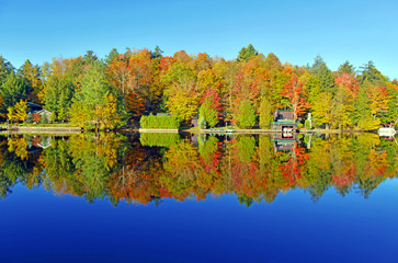 Autumn colors reflection in lake, Adirondacks, New York