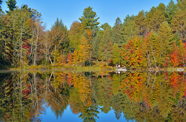 Autumn colors reflection in lake, Adirondacks, New York