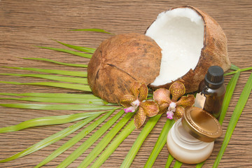 Set of spa and body care procedures with coconut ingredients