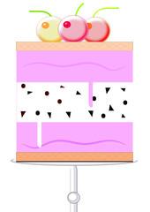 Corte de fresa y nata