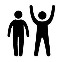 Man Black Web Icon with Up and Down Hands. Vector