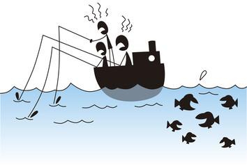 魚のいない方に釣り竿を向ける