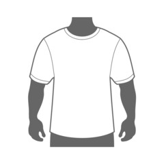 Blank T-shirt Men Body Silhouette. Vector