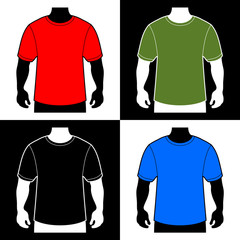 Blank Color T-shirt Men Body Silhouette. Vector
