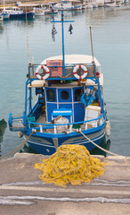 moored fishing boat and its network