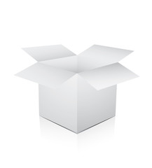 White box opened on white