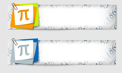 set of two banners with the texture of the numbers and pi symbol