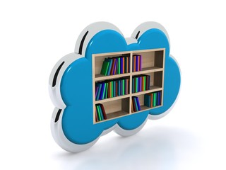 Cloud with books - blu background - archives concept