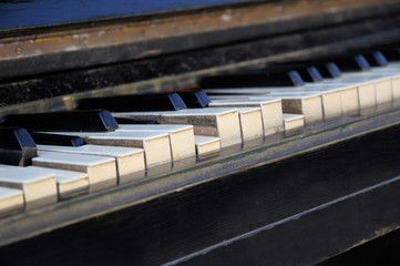 Broken piano keys.