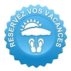 réservez vos vacances sur bouton web denté bleu