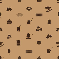 chocolate icons seamless brown pattern eps10