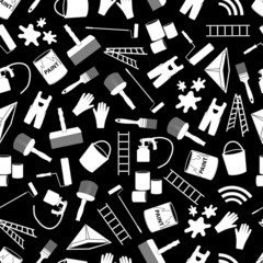 paint icons black and white seamless pattern eps10