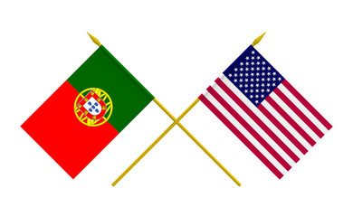 Flags, USA and Portugal
