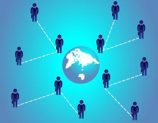 Businessmen and globe