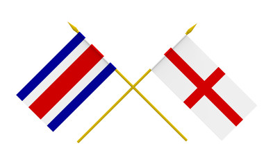 Flags, England and Costa Rica