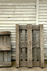 Pallets on shed