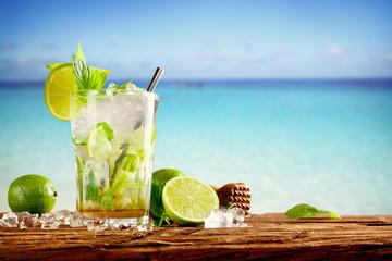 Summer mojito drinks on beach
