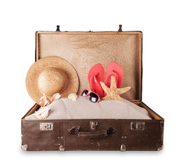Travel concept with suitcase on white background