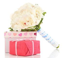 Beautiful wedding bouquet and gift box isolated on white