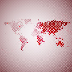 abstract red mosaic, world map vector illustration