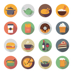 Flat Food Icons in Circles