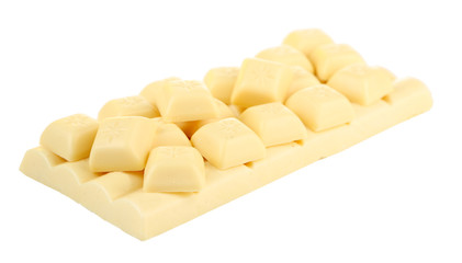 White broken chocolate bar, isolated on white
