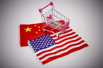 Shopping cart with USA and China flag