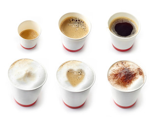 Various kinds of coffees