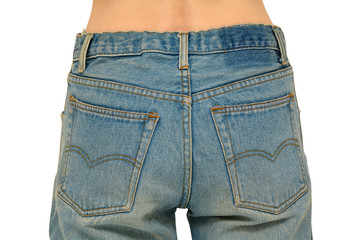 Rear body part with faded blue jeans on