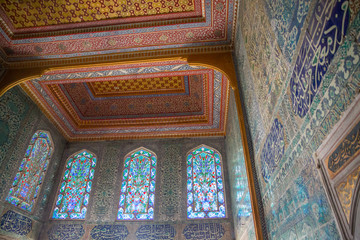 Decorated wall and roof in Topkapi Palace