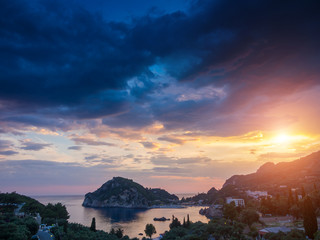 Paleokastritsa at sunset in COrfu