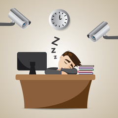 cartoon businessman sleeping at working time with CCTV