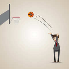 cartoon businessman playing basketball