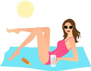 Young woman with drink enjoying the sun