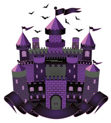 Dark Witch castle, vector illustration