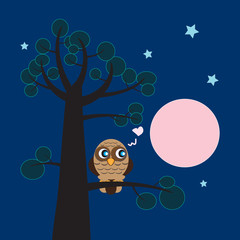 Lonely owl dreaming about love at night. Cartoon vector illustra
