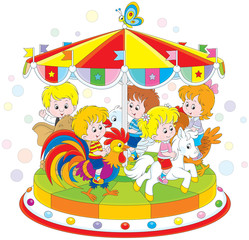 Children riding on a funny carousel