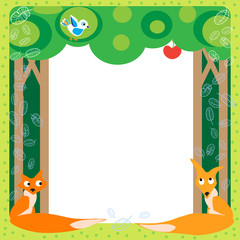 Foxes and bird in the wood. Funny cartoon and vector scene.