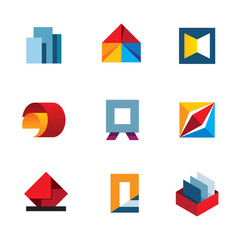 Office inspire innovation colorful business tools logo icon set