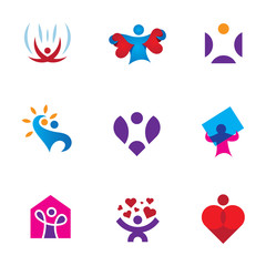 Share love emotion heart shape awareness logo icon set