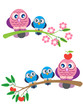 Owl family on a branch- srping and summer.Cartoon ilustration fo