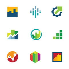 Economy finance chart bar business logo icon set