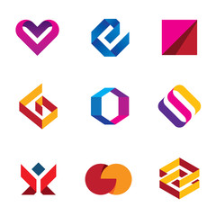 Creative business company tape line logo icon set